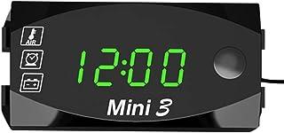 KKmoon DC 6V 30V 3 In 1 Auto Digital Voltmeter Zeitschaltuhr Thermometer Spannungsprüfer IP67 Wasserdichter LED Display Messgerät für Auto Motorrad Boot Grün