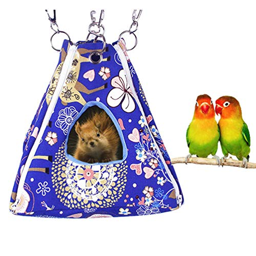 Keer Bird Nest Hammock Tent Bed Toy for Pet Parrot Budgie Parakeet Cockatiel Conure African Grey Amazon Lovebird Finch Canary Hamster Rat Gerbils Chinchilla Ferret Squirrel Cage Perch (M)