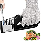 Knife Sharpener 4-Slot for Straight , Knife Sharpening Tool for Kitchen Knives,Easy Manual Sharpener with Cut-Resistant Glove ,Sharpens Dull Knives Quickly, Safe and Easy to Use