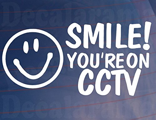 Car Sticker SMILE YOU'RE ON CCTV Van Window Shop House Camera Security Decal