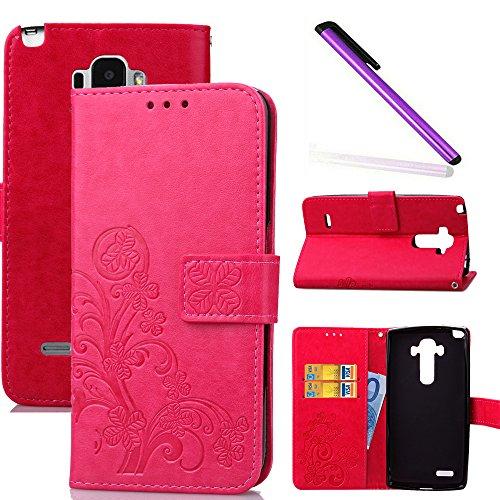 COTDINFOR LG G4 Stylus Hülle für Mädchen Elegant Retro Premium PU Lederhülle Handy Tasche im Bookstyle mit Magnet Standfunktion Schutz Etui für LG Stylo / LS770 Clover Red SD