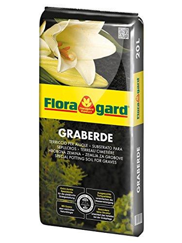 Floragard Graberde 20 L • extra dunkle Spezialerde • zur Bepflanzung von Gräbern • zur pietätvollen Grabgestaltung • mit dem Naturdünger Guano • tiefschwarz