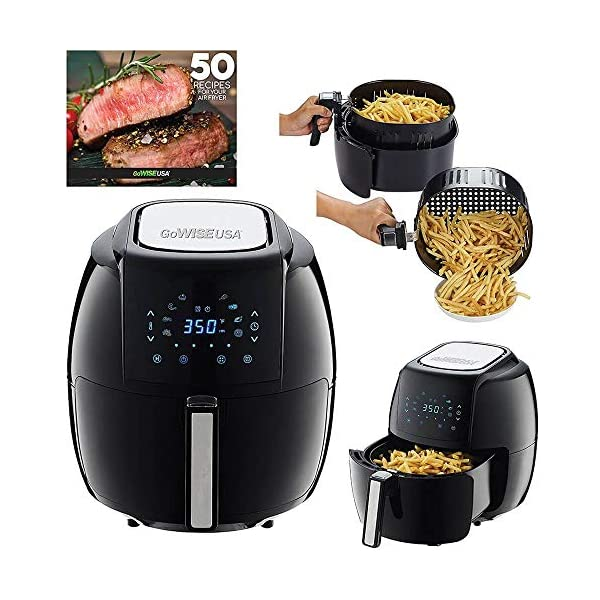 GoWISE USA 1700-Watt 5.8-QT 8-in-1 Digital Air Fryer and 50 Recipes for your Air Fryer Book (Black) (Renewed)