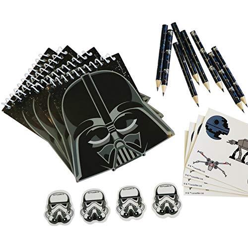 Amscan 9903095 - Schreibwaren-Set Star Wars, 20-teilig, Blöcke, Bleistifte, Radierer, Sticker, Schulwaren, Give-Away, Geschenkset, Schule