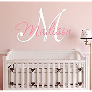 Nursery Custom Name and Initial Wall Decal Sticker 23″ W by 17″ H, Girl Name Wall Decal, Girls Name, Wall Decor, Personalized, Girls Name Decor, Nursery Bedroom Baby Decor Plus Free Hello Door Decal