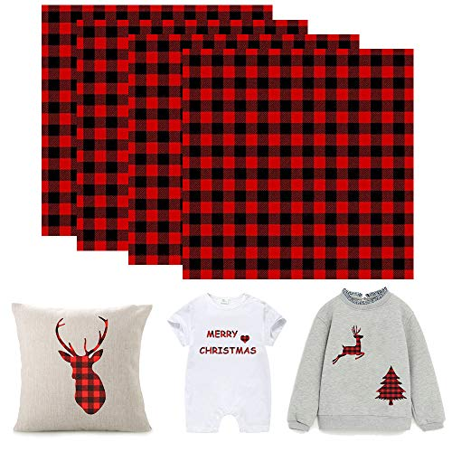 4 Sheets Christmas Buffalo Plaid Heat Transfer Vinyl Iron On Appliques Classical Black&Red Plaid Print Pattern Xmas Patches with Adhesive DIY Crafts Accessories for T-Shirt, Backpack, Bags, Jackets