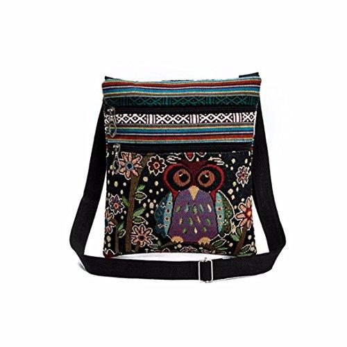 Handtasche Bestickt Eule Tote Taschen Frauen Schultertasche Handtaschen Briefträger Paket Von Xinan (❤️, D)