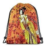 Yuanmeiju Japanese Geisha Flutist Vintage Decorative Painting Print Shoulder Bolsa con cordón Backpack String Bags School Rucksack Gym Sport Bag Lightweight