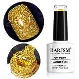 Glitter Gel Nail Polish, Gold Diamond Gel Polish Spark Shiny Gel Nail Art Soak Off UV LED Lacquer Gel Nail Starter Manicure Salon DIY at Home RAR82