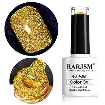 Glitter Gel Nail Polish Gold Diamond Gel Polish Spark Shiny Gel Nail Art Soak Off UV LED Lacquer Gel Nail Starter Manicure Salon DIY at Home RAR82