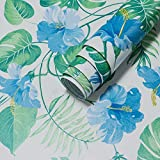 17.7'x197'Tropical Floral Peel and Stick Wallpaper Blue Flowers Contact Paper Waterproof Rainforest...