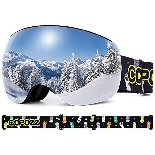 COPOZZ Kinder Skibrille, S3 Magnetische OTG Snowboard Schneebrille mit Doppel-Objektiv Anti Fog...