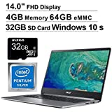 Acer Swift 1 14 Inch NonTouch FHD 1080P Laptop| Intel Pentium N5000 up to 2.7 GHz| 4GB RAM| 64GB eMMC| HDMI| Webcam| Windows 10 Home S + NexiGo 32GB SD Card Bundle (Renewed)