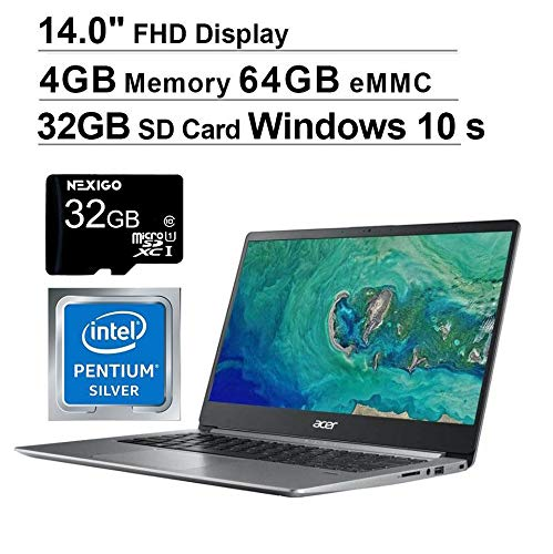 2020 Acer Swift 1 14 Inch FHD 1080P Laptop Business Student| Intel Pentium N5000 | 4GB RAM| 64GB eMMC| WiFi| HDMI| Webcam| Windows 10 Home S + NexiGo 32GB MicroSD Card (Renewed)