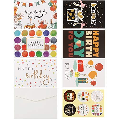 36 Stücke Geburtstagskarten Set mit Briefumschlag und Aufklebern, Geburtstagskarte Grusskarte, Happy Birthday Geburtstagskarte, Geburtstagskarten für Kinder Erwachsene, Geburtstag Klappkarten