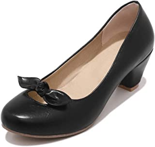 BalaMasa Womens Bows Solid Travel Urethane Pumps Shoes APL10498