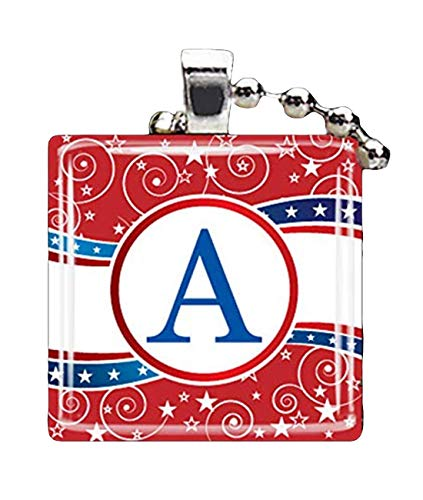 Collar con colgante de diseño de estrellas y rayas, diseño de bandera americana del 4 de julio, regalo para ella
