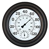 WiHoo 8' Indoor Outdoor Thermometer/Hygrometer for Patio, Wall or Decorative