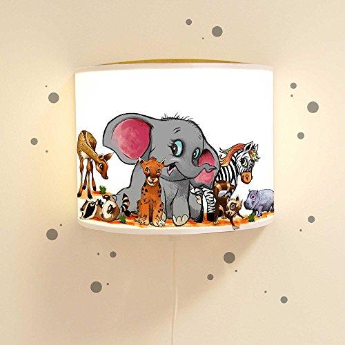 ilka parey wandtattoo-welt Ls33 Lampe de Lecture pour Chambre d'enfant Motif Animaux Sauvages zébré et Hippopotame