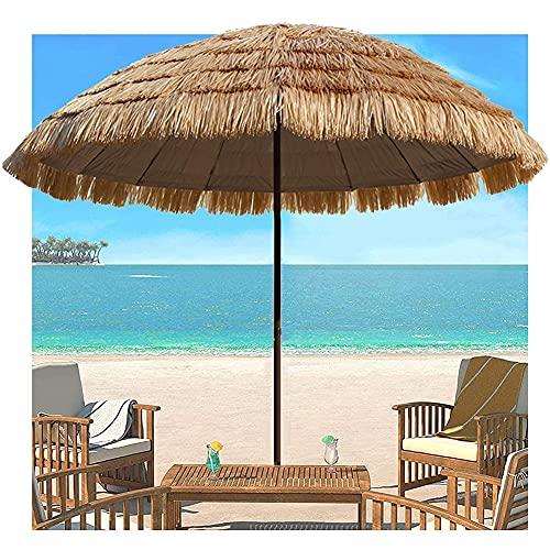 SHANJ 2,5 m Sombrilla de Patio con Techo de Paja,Sombrilla de Playa Hawaiana, Paraguas Tiki,Sombrilla de Mesa de Sombrilla al Aire Libre,Parasol de Jardín Redondo,18 Costillas(Color Natural)