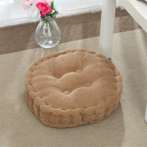 WHL.LL Solid Color Corduroy Garden Seat Cushions, Thicken Round Breathable Seat Pads, Outdoor seat Pads, for Kitchen Chairs,G_Diameter 43cm(17inch)