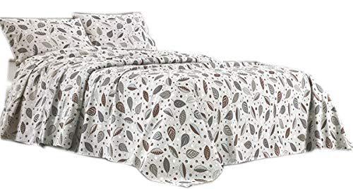 R.P. Sprei Leaves And Pois, 100% katoen, Franse grootte, Ikea – taupe