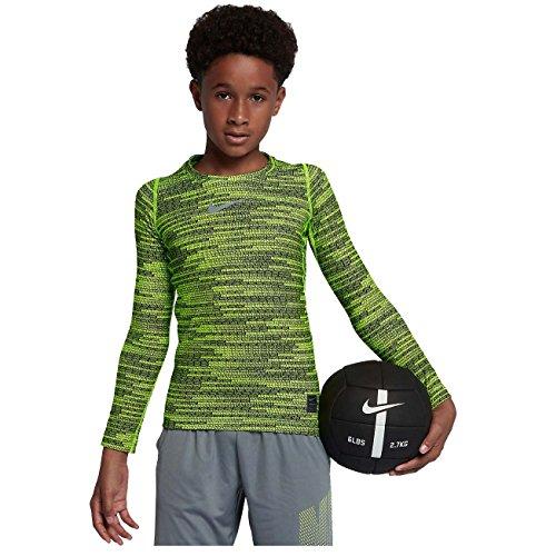 Nike Boys Pro Warm Compression Long Sleeve Top (Yellow Black, X Large 14+)