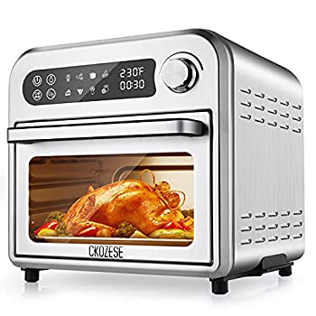 8-In-1 Compact Air Fryer Toaster Oven Combo 11QT Countertop Convection Oven with Dehydrator Bake Broil Roast 6 slice Large Capacity Oilless Temp/Time Dial 1250W 4 Accessories & Recipes