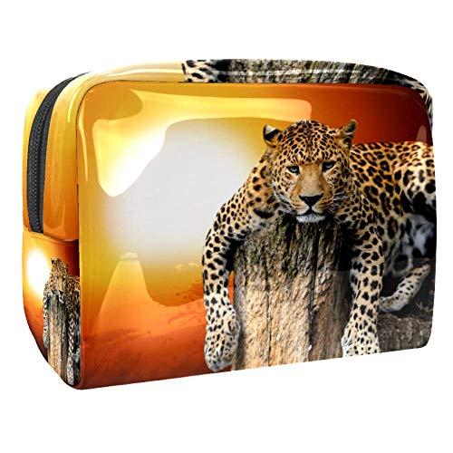 Trousse de toilette multifonction pour femme - Motif léopard féroce