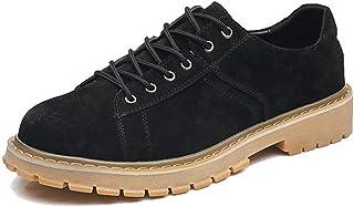 cicongzai Bottes de Travail for Les Hommes Low Top Bottes Mode lacées en Cuir véritable rétro Waxy Lacets Plat Respirant a...