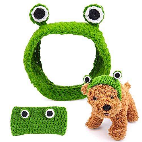 DXSC Disfraz de rana para mascota, gorro de cosplay, gorro de gato, perro, hecho a mano, lana de punto, lindo sombrero de rana, para mascota gatito cachorro