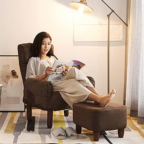 WHOJA Sillón Reclinable Diseño ergonomico Respaldo Regulable Diseño de Bolsa de Almacenamiento con reposapiés Silla Individual para el Almuerzo Peso del rodamiento 150kg Sillon Relax(Color:marrón)