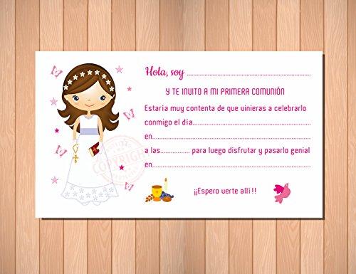 Invitaciones de Primera Comunión Niña Morena - Muy Bonitas - Para que Sus Amiguitos ¡Alucinen! (20 unidades)