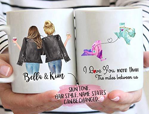 Taza personalizada de larga distancia, regalo de relaciones de larga distancia, regalo de amistad, hermana, mamá, estados, regalo de aniversario personalizado, 325 ml