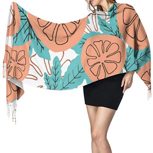 Yushg Mode Retro Frucht Feige Schals Mit Fransen Mädchen Schal Wickeln Mode Kaschmir Schal 77x27inch / 196x68cm Große Weiche Pashmina Extra Warm