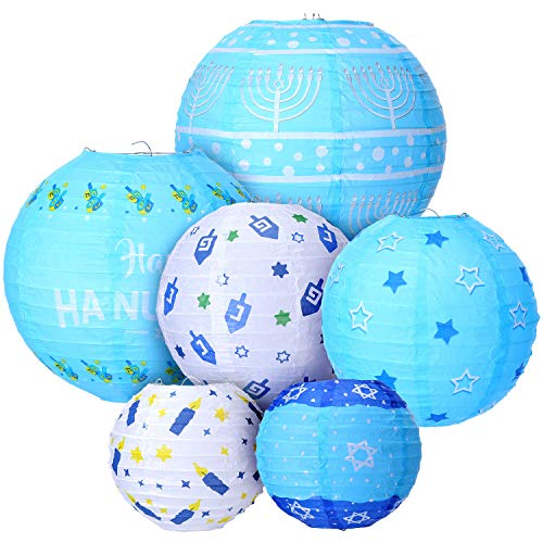 12 Piece Hanukkah Hanging Ball Hanukkah Lanterns Ornaments Hanukkah Ball Lantern Decoration for Home Decor, Parties