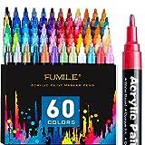 Acrylic Paint Pens, FUMILE 60 Colors Paint Marker Pen Set include Metallic Color (12 PCS) and Normal...