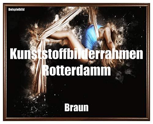 Homedecoratie fotolijst Rotterdam bruin kunststof met kunstglas onbreekbaar glashelder UV-bestendig 27,5 x 41