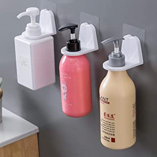 Meiyiu Shampoo Holder Hook, Adhesive Wall Mounted for Bottles with Pump Dispenser for Shower Kitchen Bathroom