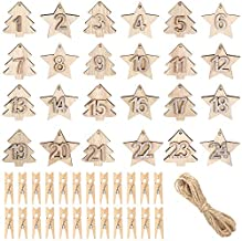 24 Pieces Advent Calendar Numbers Wooden, Christmas Advent Calendar Number Christmas Countdown Calendar with 24 Pieces Clips, Wooden Christmas Tree Ornaments for Hanging (1-24)