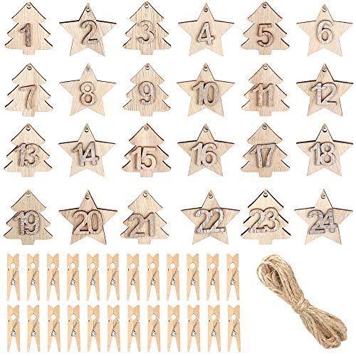 Kulannder 24 Pieces Advent Calendar Numbers Wooden, Christmas Advent Calendar Number Christmas Countdown Calendar with 24 Pieces Clips, Wooden Christmas Tree Ornaments for Hanging (1-24)