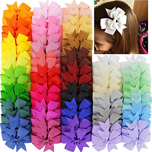 40Piece 3 inch Boutique Grosgrain Ribbon Pinwheel Hair Bows Alligator Clips For Girls Babies Toddlers Teens Gifts In Pairs