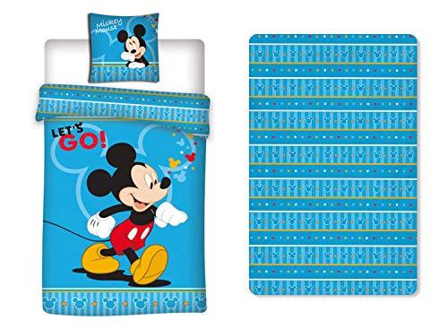 Disney Mickey - Juego de cama de 3 piezas, funda nórdica de 140 x 200 cm, funda de almohada y sábana bajera ajustable
