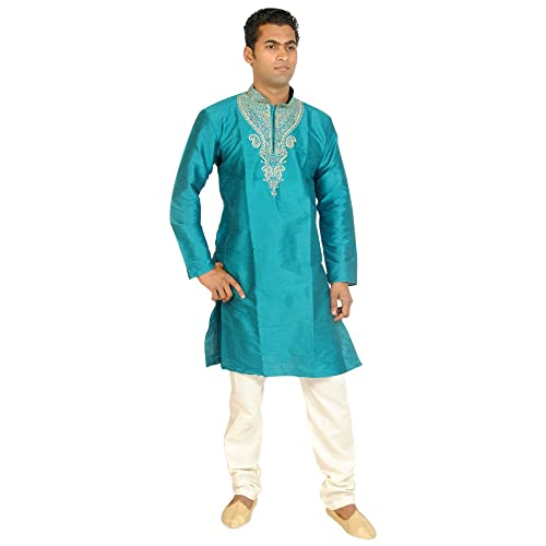 2881d62a77 Apparelsonline Teal Men Kurta Set Sherwani Indian Wedding Wear