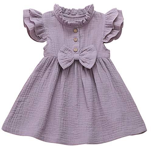 Borlai 1-6 Years Girls Dress with Bowknot Cute Sleeveless Ruffled Party Dress Sundress