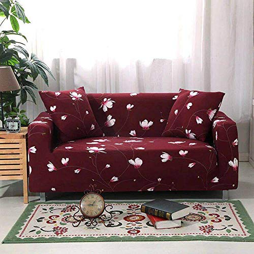 Sofa Cover 1 Seater Small White Flowers Couch Cover Polyester Spandex Printed Sofa Slipcover Stretch Fabric Sofa Protector Couch Pet Protector,Settee Covers for Loveseat