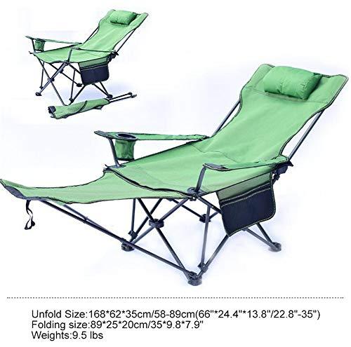 Luckylj Stoel, kantelbaar, 3 posities met afneembare voetensteun, opvouwbare stoel, van mesh voor camping buitenshuis, met bekerhouder en zijtas, 2 l groen