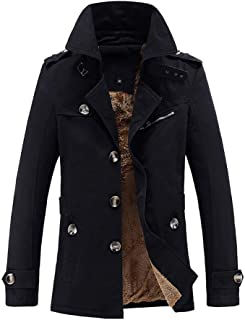 Men's Casual Pocket Button Thermal Leather Top Coat Warm High Collar Stand Collar Long Sleeve Plus Velvet Jacket M-5XL