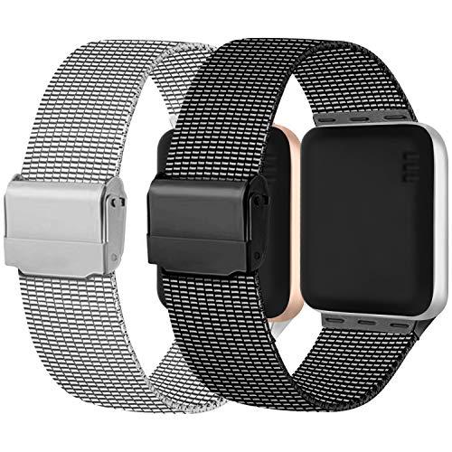 Meliya Cinturino Compatibile per Apple Watch Cinturino 44mm 42mm 40mm 38mm Series 6 5 4 3 2 1 SE, Cinturino in Metallo Maglia Milanese a Acciaio Inossidabile Cinturini (42/44mm, 1Argento+Nero)