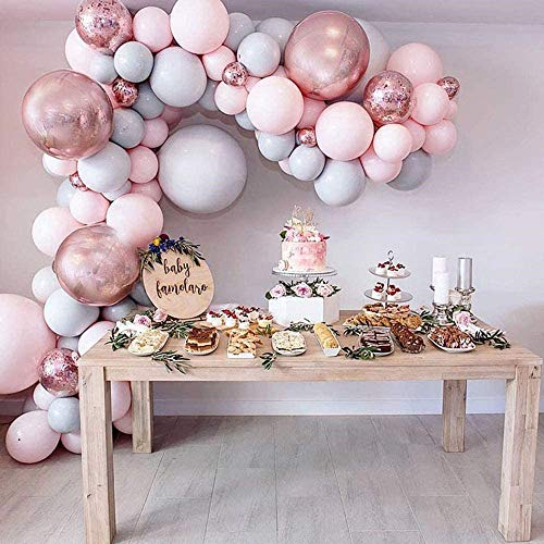 Honeyhouse 112 PCS Balloon Garland Kit, Rose Gold Balloon Garland Arch Kit with Light Pink, Light Gray, Rose Gold Balloons and Ribbon for Wedding Baby Shower Birthday Party Decor